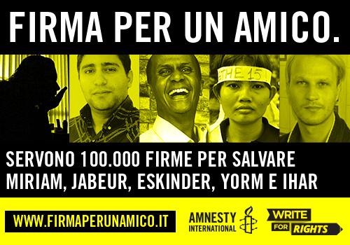 Amnesty International lancia Write for Rights: una firma per la libertà d'espressione anche in rete